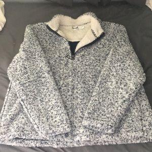 Sherpa quarter zip jacket navy blue